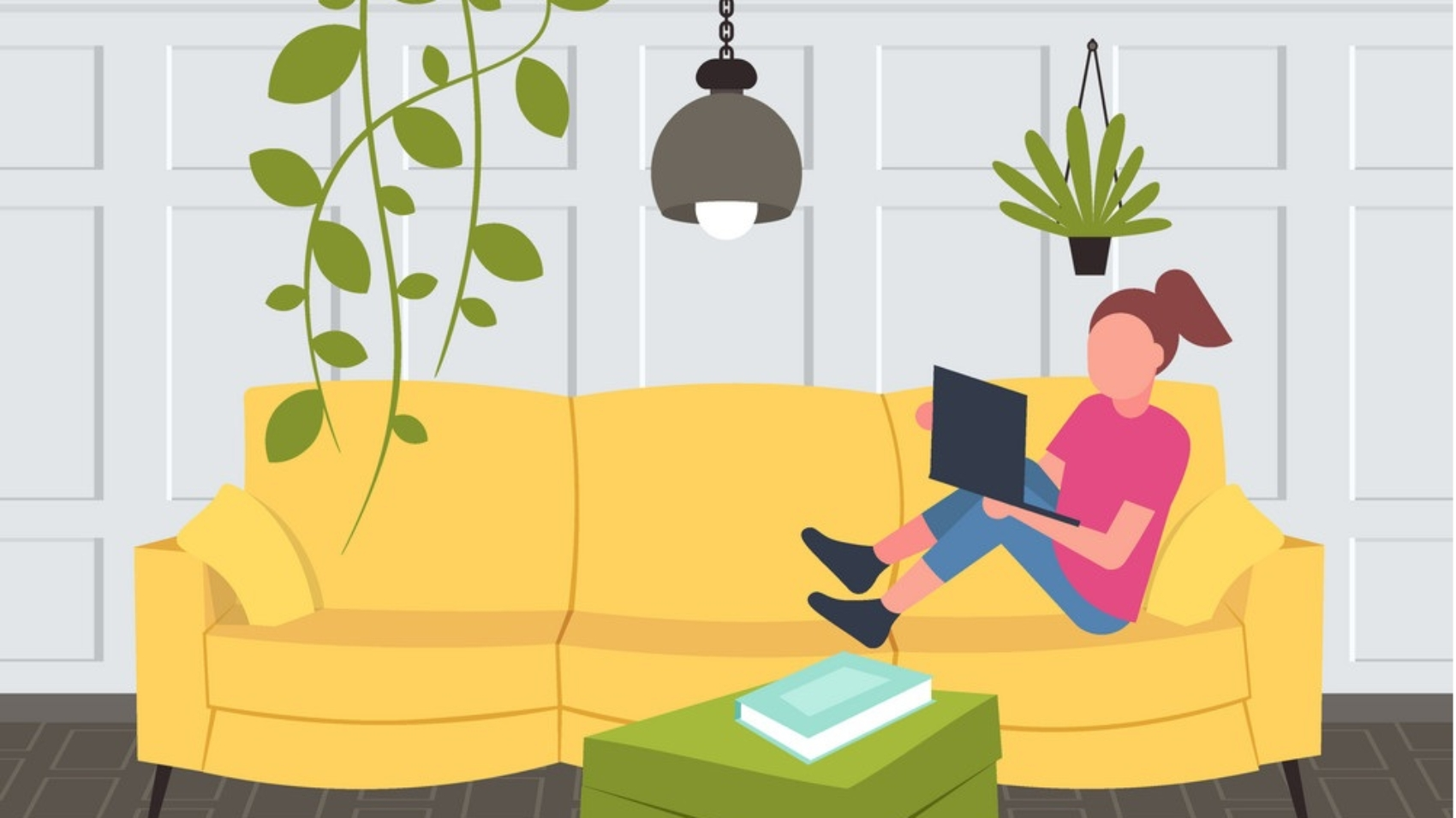 woman sitting on couch girl using laptop contemporary living room interior home modern apartment design flat horizontal full length vector illustration